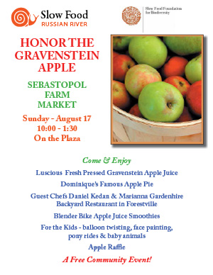 HONOR THE GRAVENSTEIN APPLE, SUNDAY AUGUST 17TH, 10:00 – 1:30